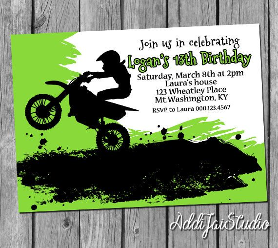 Lime Green Motocross Birthday Printable 5x7 4x6 By AddiJaiStudio