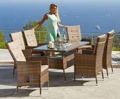 Hagebau Gartenmöbelset Santiago Deluxe 6 Hochlehner Tisch 150x80