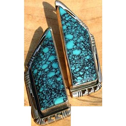 Huge Turquoise Sterling Silver Earrings Navajo Jerry T. Nelson