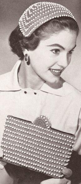 Vintage 1950 s Half Hat   Evening Bag Crochet Patterns  638d6fba44d