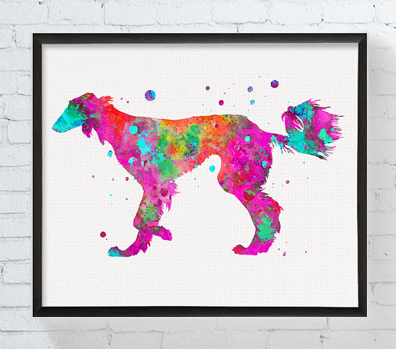 Saluki Print Watercolor Art Printable Dog Poster Dog Painting