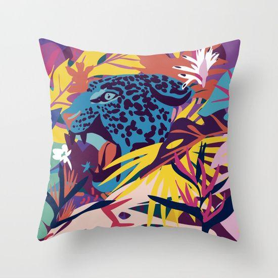 Jaguar Roar: Jaguar Roar! Throw Pillow By Mariery Young