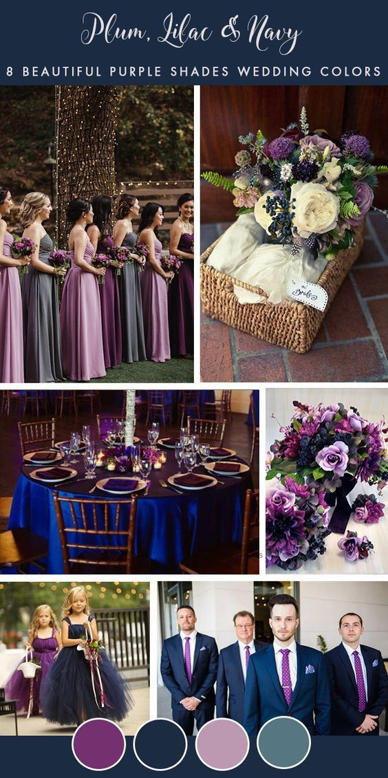 Más de 50 paletas de colores de boda púrpura y azul marino, centros de mesa de boda, recepciones de boda …