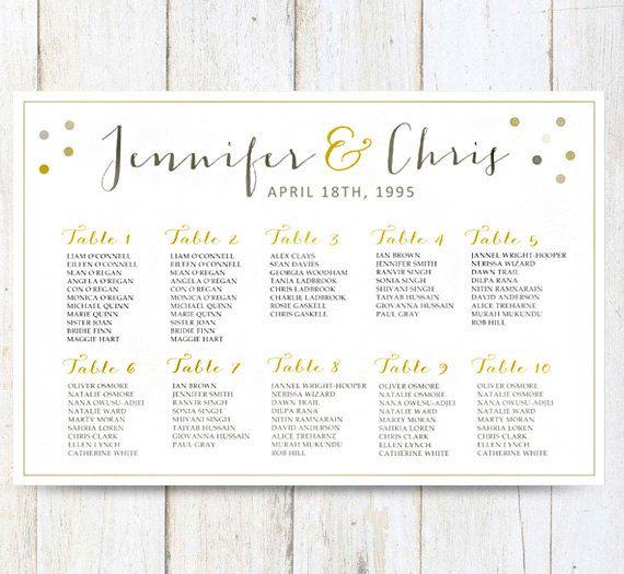 White wedding seating chart poster digital gold wedding seating