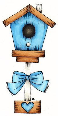 Birdhouse With Heart and Bow