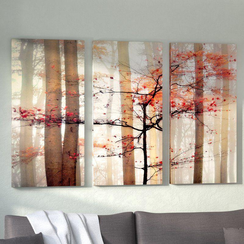 Orange Awakening 3 Piece Wrapped Canvas Photograph Print Set Painting Prints Print Sets Wall Art