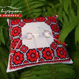 Подушечка для обручок в українському стилі Квітуче кохання