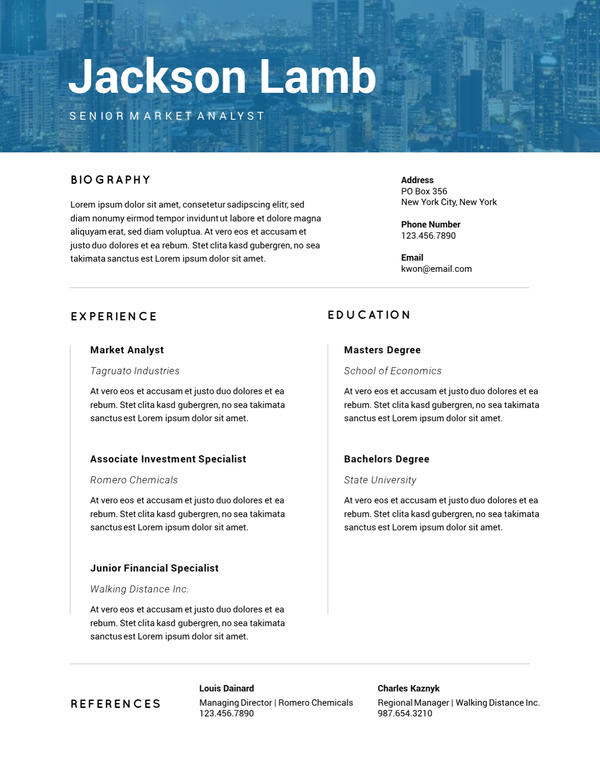 Tinted cityscape resume template Resume template