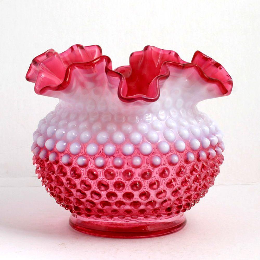 Fenton Cranberry Opalescent Hobnail Vase Vintage Ruffled Art Glass 3850