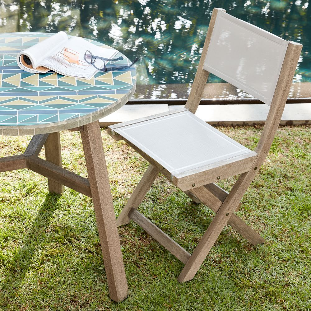 Portside Outdoor Folding Textilene Bistro Chair Weathered Gray Bistro Chairs Bistro Table Outdoor Plastic Patio Chairs