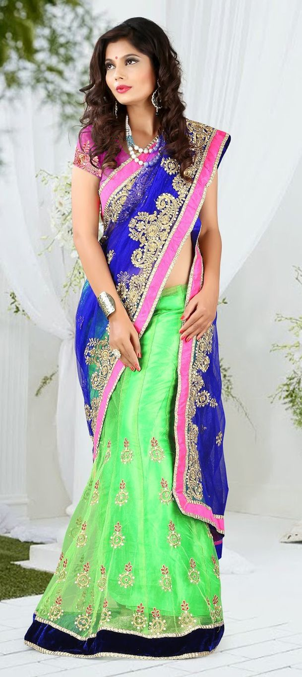 149888: Blue, Green color family Saree with matching unstitched ...