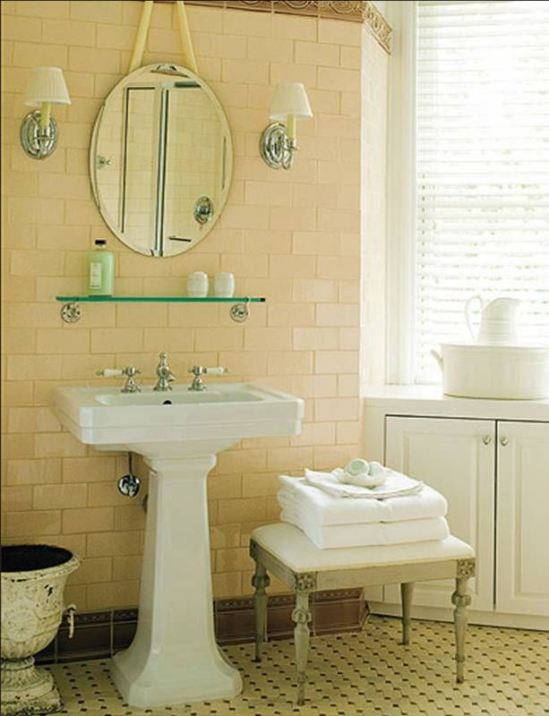 New Vintage Traditional Retro Bathroom Erik Johnson Bath Subway Tile Off White Wall Oval Vanity Mirror Chrome Sconces Shades Pedestal Sink Urn Hex Dot