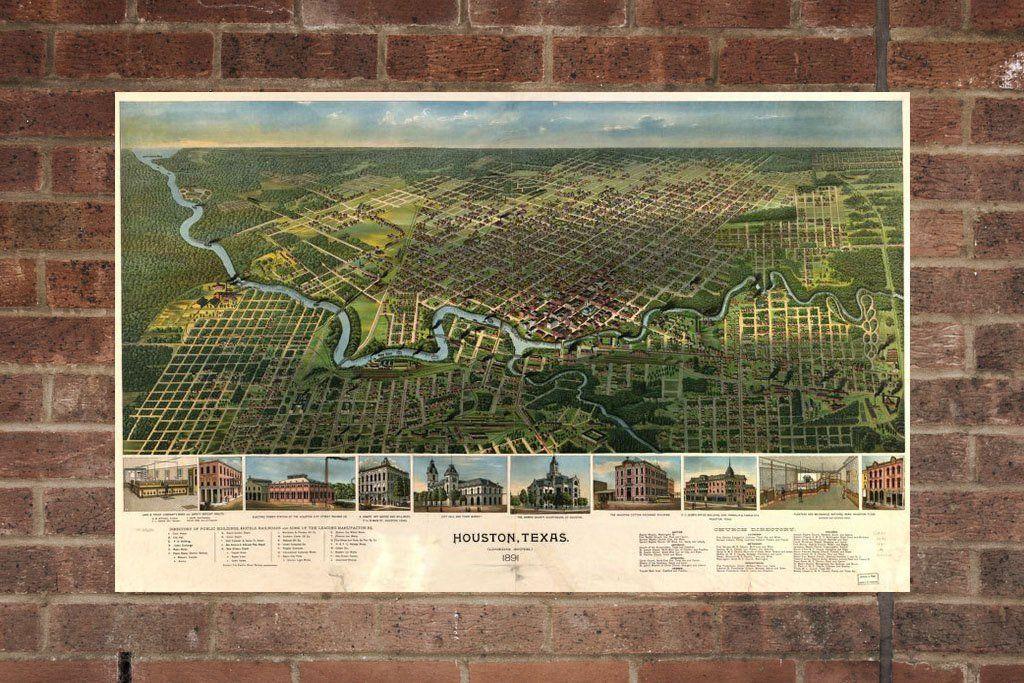 1912 City View Houston Texas Historic Giclee