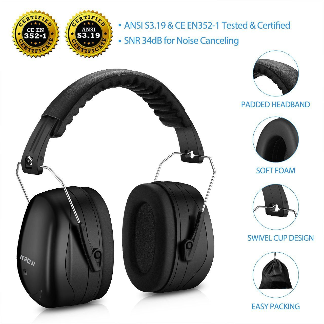 Mpow Noise Reduction Safety Ear muffs Noise cancelling