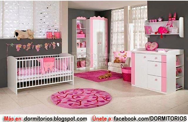 Dormitorios para ni as en tonos rosa con gris dise o for Dormitorios para 4 ninas
