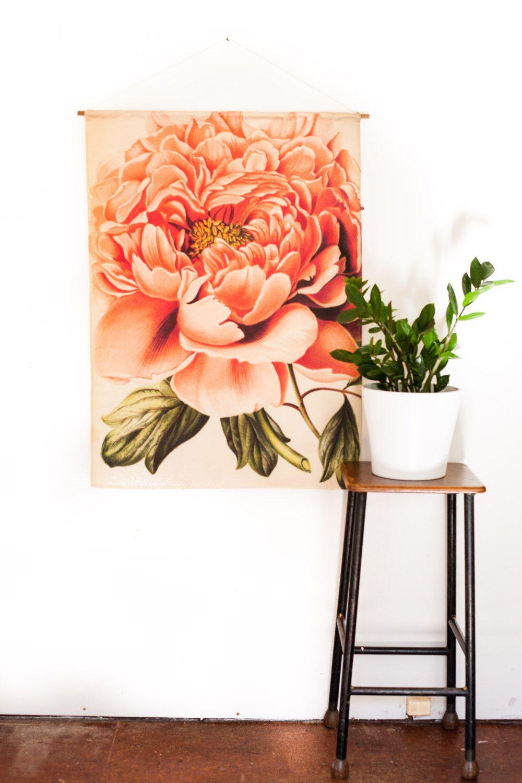 Vintage botanical art print pink peony fabric wall hanging floral wall decor vintage wall art