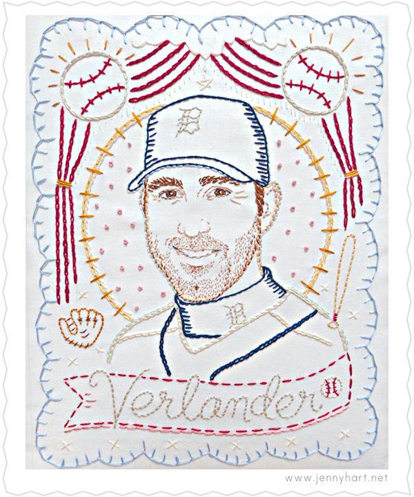 Embroidered Portrait of Justin Verlander for ESPN by Jenny Hart