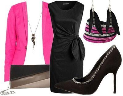 Robe noire blazer rose