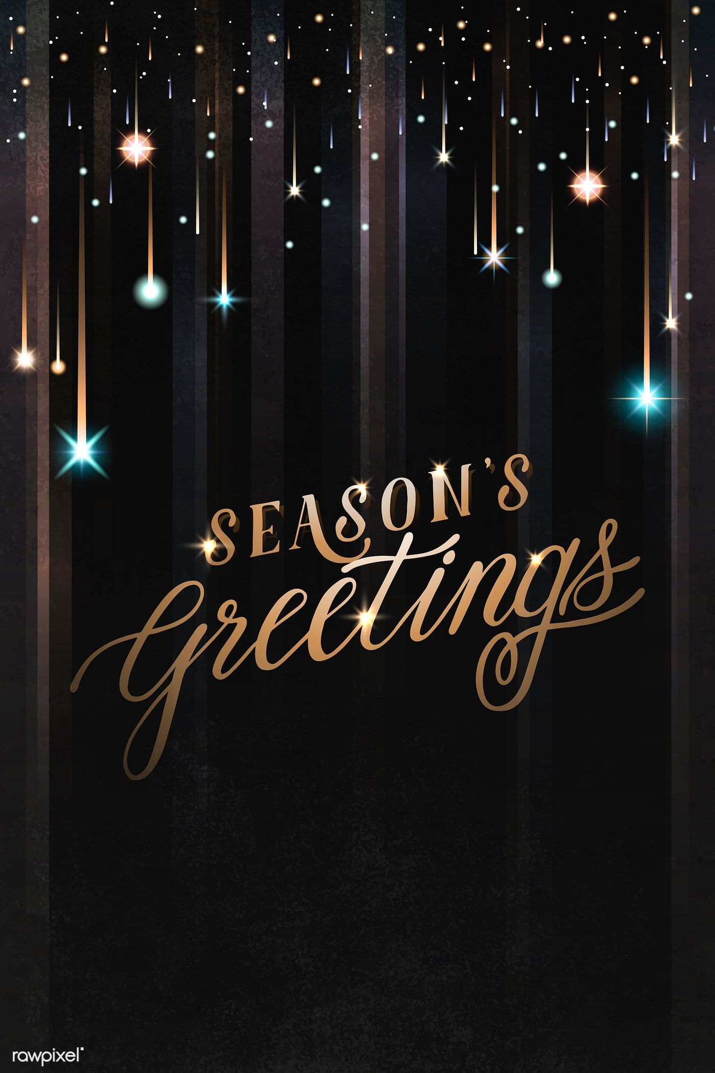 Download premium vector of seasons greeting black card