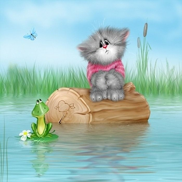 Открытка с рисунком котика, красивые