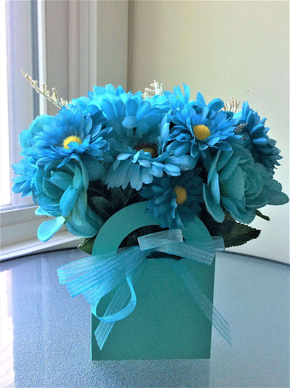 Blue Daisies Flower Arrangement Silk Flower Centerpiece Artificial