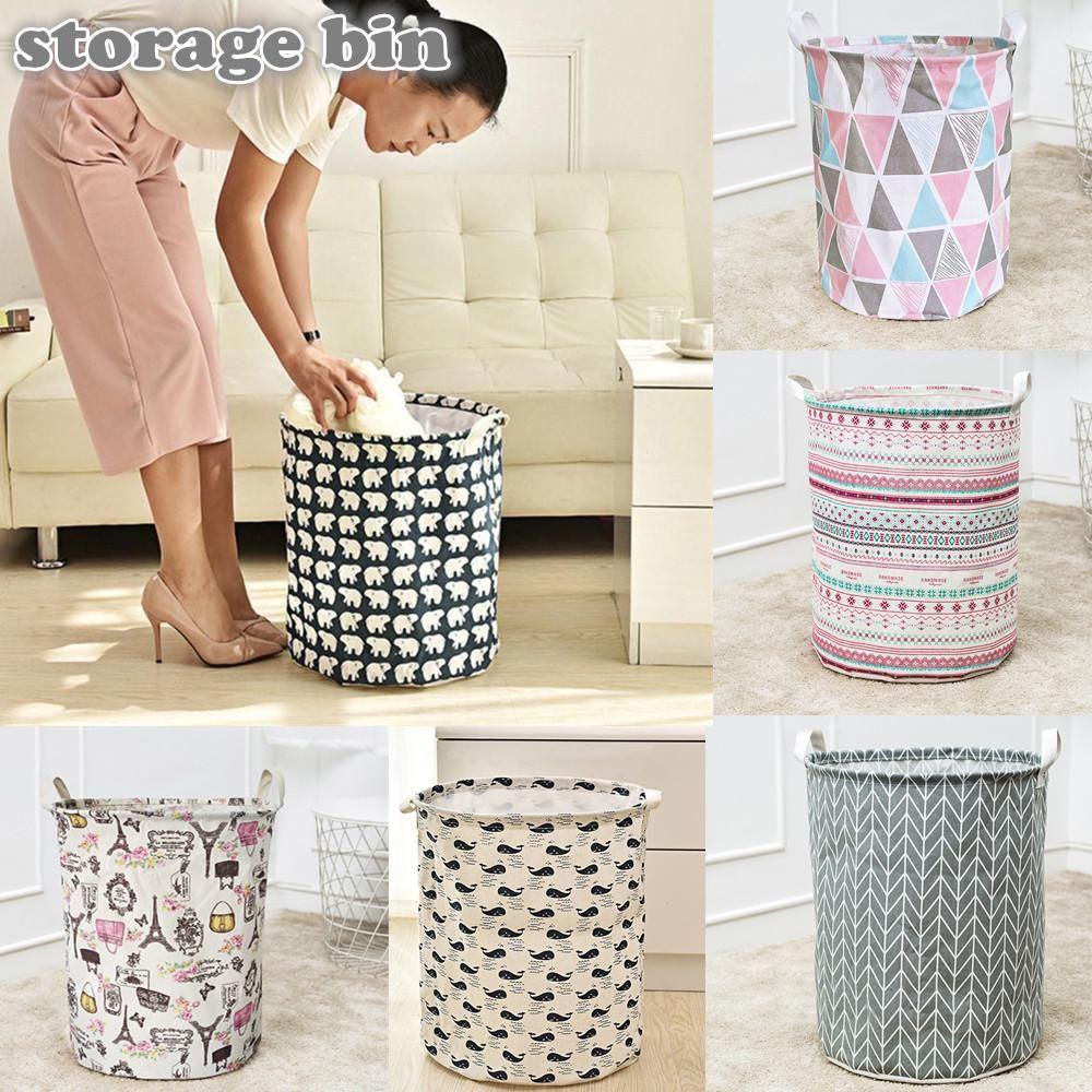 Waterproof Canvas Laundry Clothes Basket Storage Basket Folding
