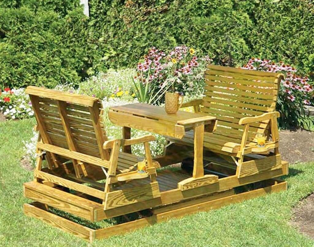 Furniture, Appealing Double Wooden Outdoor Glider And Double Patio Glideru2026