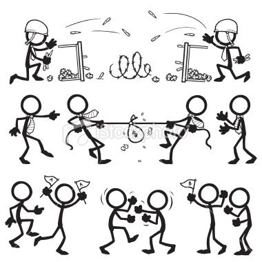 Stickfigure business teams in conflict with each other Dibujos de