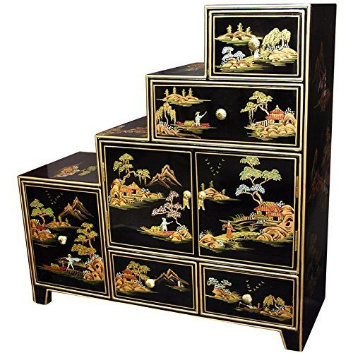 Oriental Furniture Unique Asian And Decor 33 Inch Fine Anese Design Lacquer Step Tansu Black Co Uk Kitchen Home
