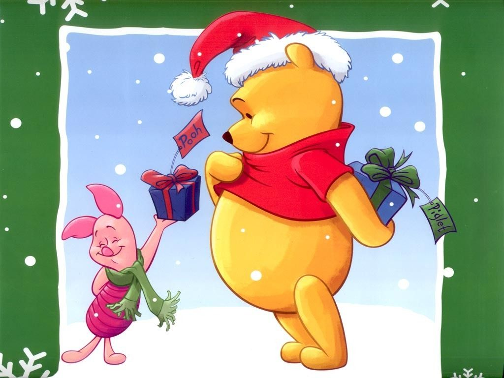 Piglet Giving Presents Christmas Wallpaper Winnie The Pooh