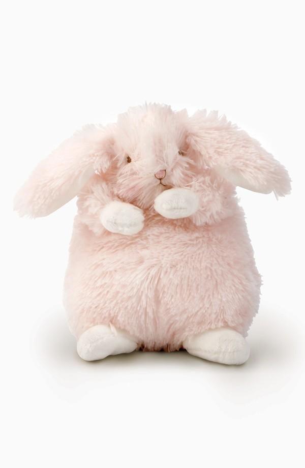 Polka Dot Blue Bunny Rabbit Plush Baby Rattle 8 Inch Autom