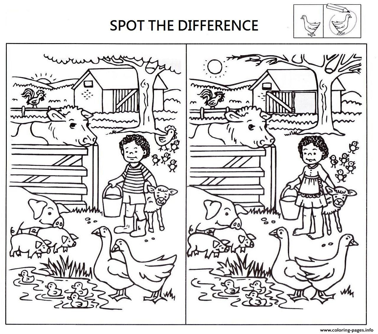 Spot The Difference Worksheets For Kids Coloring Pages