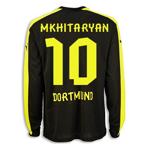 Borussia Dortmund 10 Mkhitaryan Away Long Sleeve Soccer Jersey Official Qualified And Stylish 2013 2014 Borussia Dortmun Soccer Jersey Football Shirts Jersey