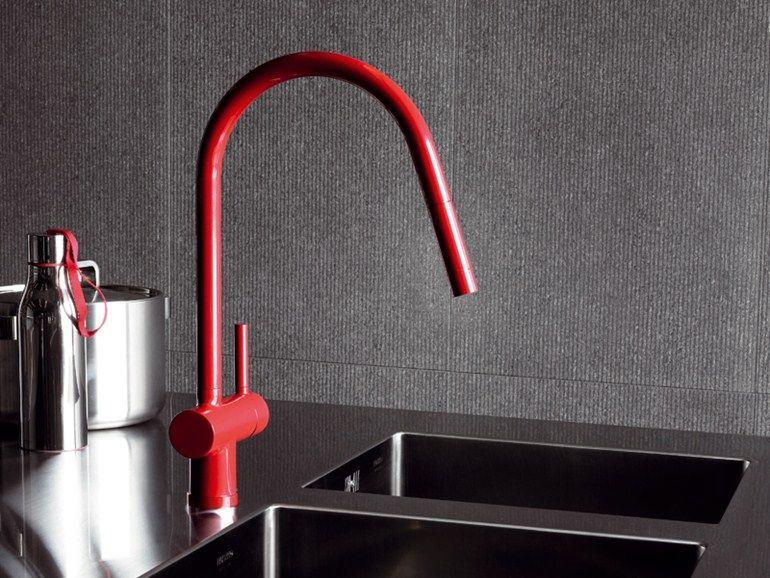 1-Loch Küchen-Einhebelmischer mit abnehmbare Brause Kollektion Pan by ZUCCHETTI | Design Ludovica Roberto Palomba