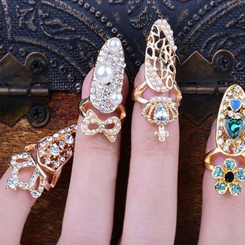 Fashion Bowknot Crown Crystal Finger Nail Art Ring Jewelry Nail Art ...
