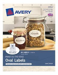 Avery Print To The Edge Oval Labels 22814 Glossy White Packaging Image With Images Glossy Labels Labels Laser Labels