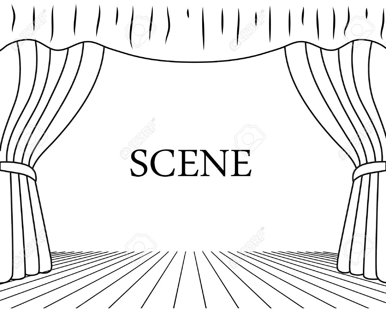 theatrical scene drawing on a white background | Theatre