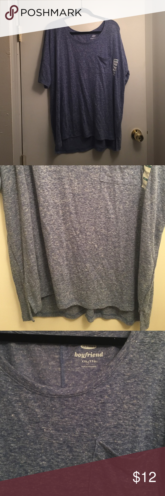 Blue Boyfriend Tee New w tags, blue and whitish boyfriend fit very comfy! Size xxl Old Navy Tops Tees - Short Sleeve