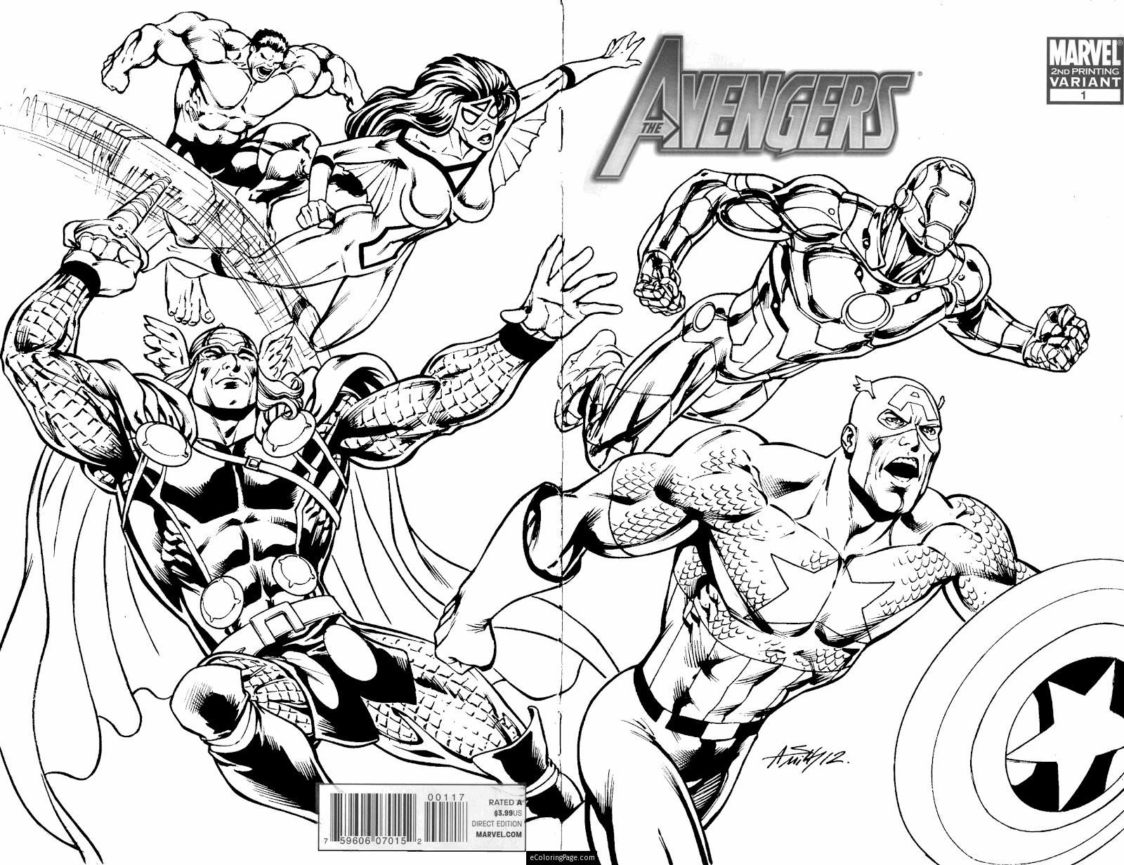 Marvel Superheroes Avengers In Action Coloring Page For