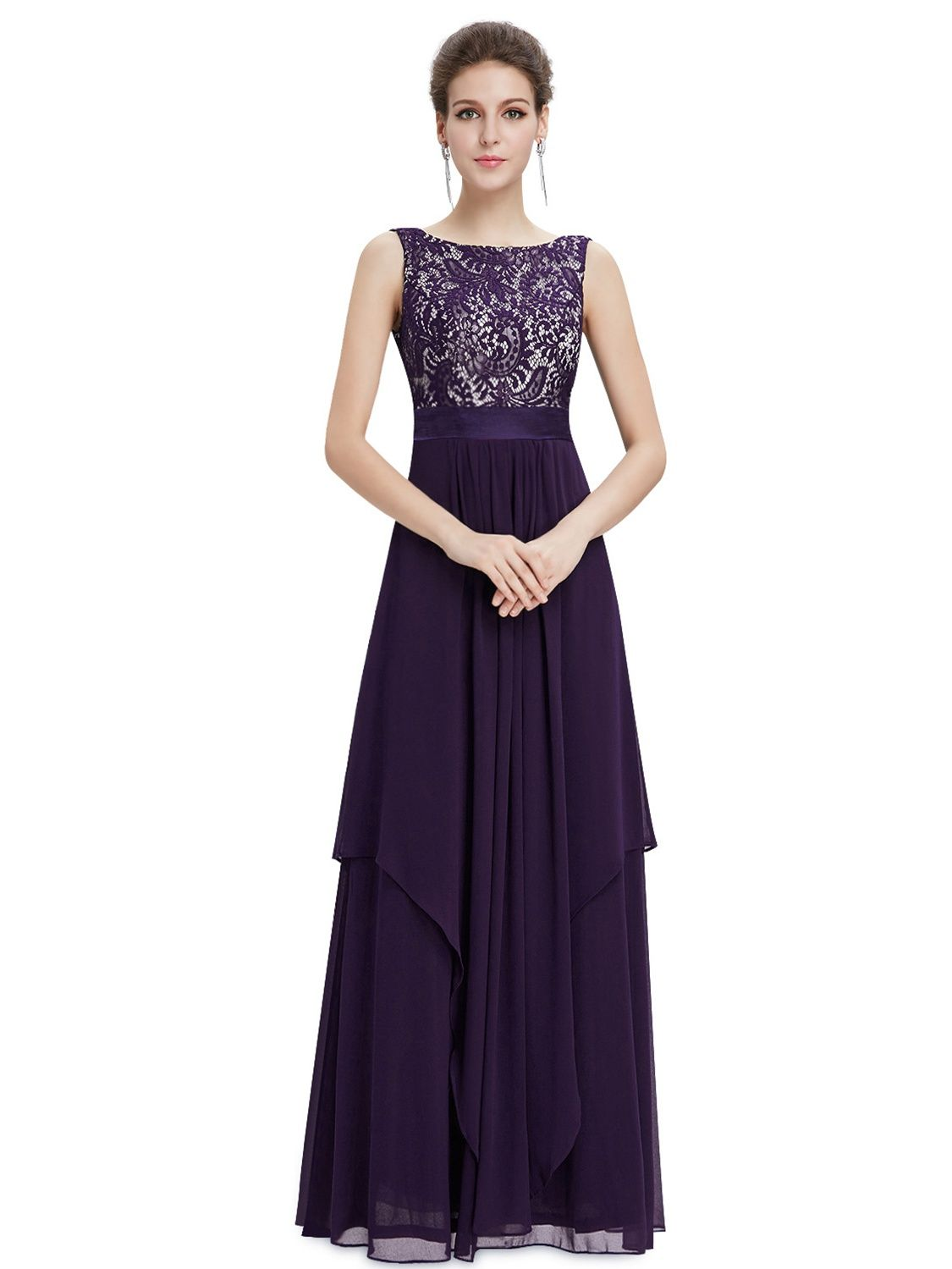 b309345ca07 Ever-Pretty Women s Elegant Flowy O-Neck Chiffon Summer Prom Party Military  Ball Gown Formal Dresses for Women 08217 Purple US 14 Chiffon