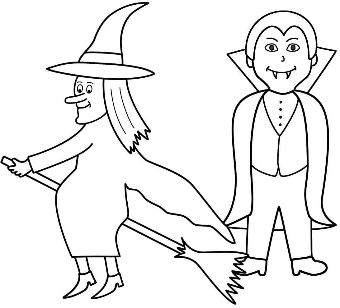 Simple Halloween Coloring Pages Witch Colouring Free For