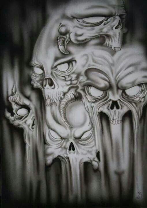 Evil Skull Tattoos : skull, tattoos, Strix, Shaolung, Crystalmfjones@gmail.com, Skull, Tattoo,, Skulls, Drawing,, Drawing