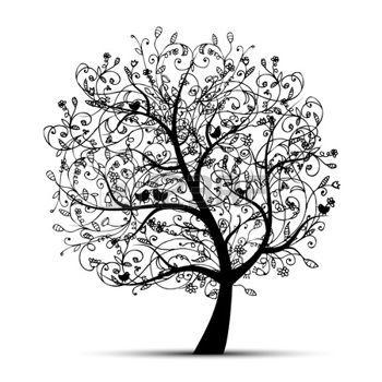 arbre dessin arbre art beau silhouette noire pour votre. Black Bedroom Furniture Sets. Home Design Ideas
