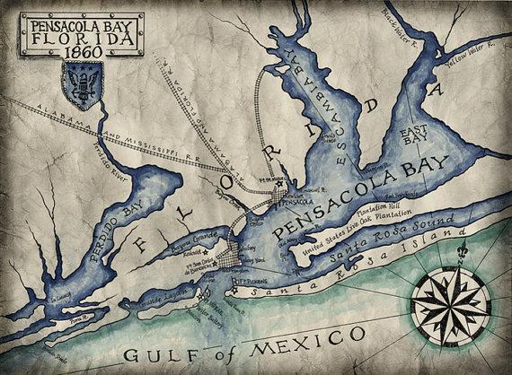 Map Gulf Breeze Florida.Pensacola Bay Map C 1860 Pensacola Florida Maps Pensacola Beach