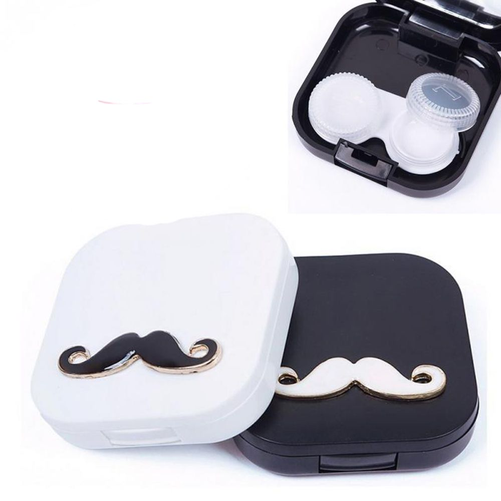 Good Lovers Cartoon Cute Beard Travel Glasses Contact Lenses Box Contact Lens Case For Eyes Care Kit H Contact Lenses Case Black Contact Lenses Sunglasses Case