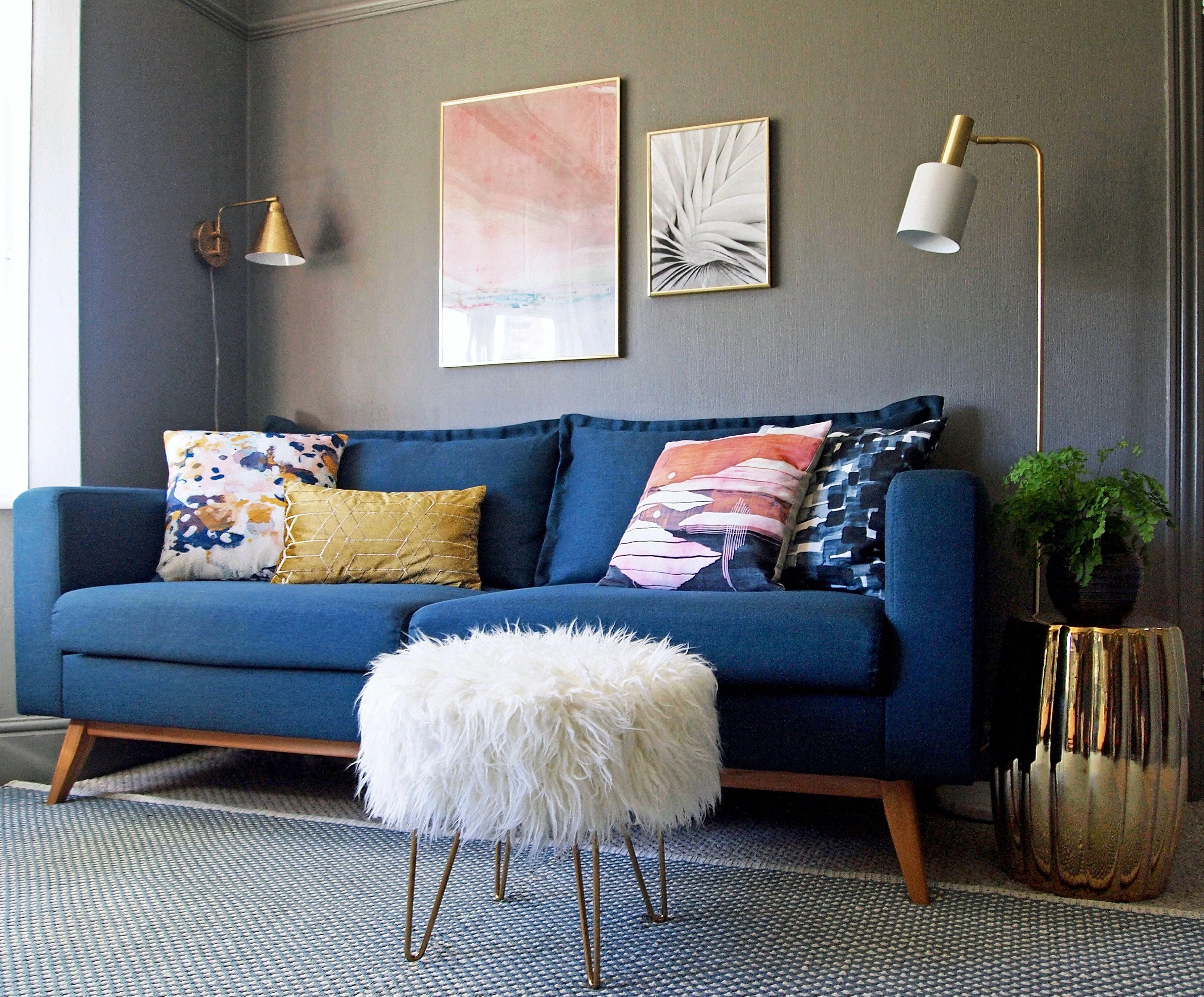 Living Room Design Blue Sofa Grey Walls And Accents In Pink White And Gold First Sense In Blue Living Room Decor Blue Sofas Living Room Blue Sofa Living