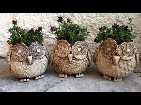 keramik eule pflanztopf ceramic owl plant pot youtube. Black Bedroom Furniture Sets. Home Design Ideas