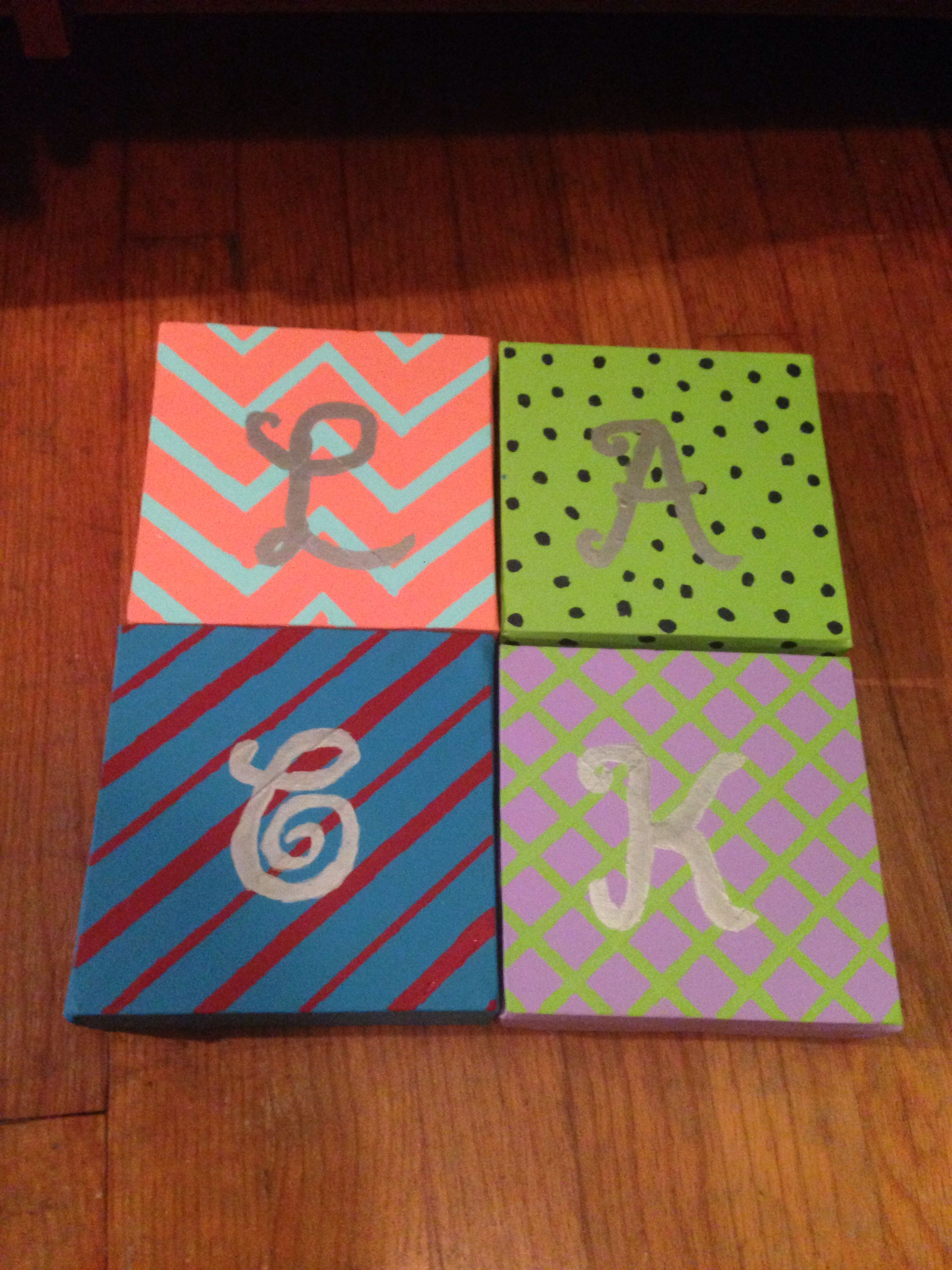 Small Square Canvas Paintings With The Initial Of Our First Name