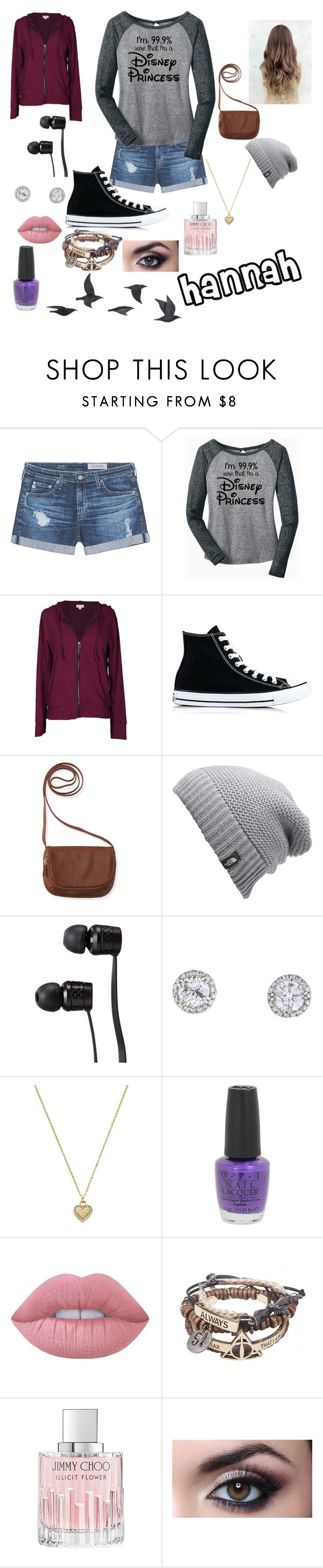 """Hannah"" by deadgirl2140 ❤ liked on Polyvore featuring AG Adriano Goldschmied, Velvet by Graham & Spencer, Converse, Aéropostale, The North Face, Vans, Michael Kors, OPI, Lime Crime and Jimmy Choo"