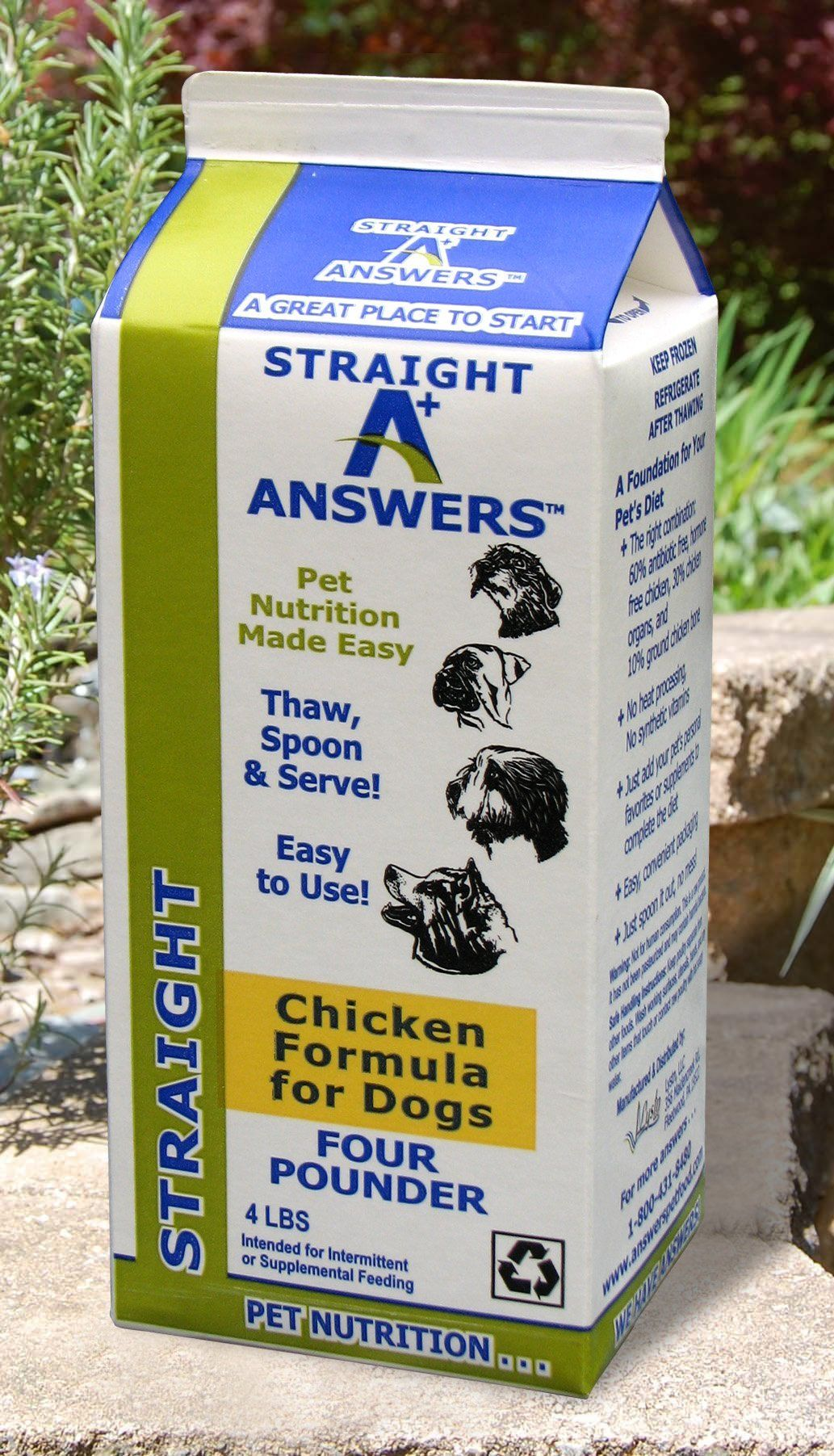 Answers straight chicken frozen raw dog food 4 lb